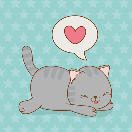 cute little cat with heart in speech bubble kawaii character vector illustration design Çizim