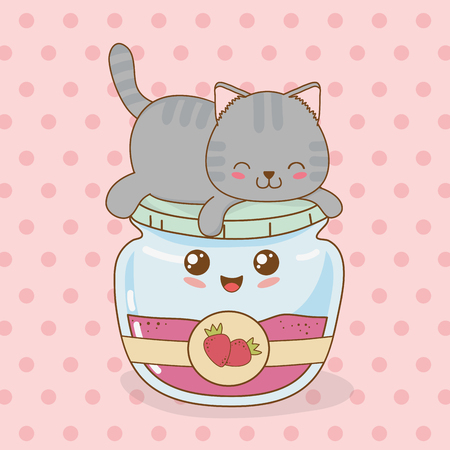 cute little cat with strawberry jam pot kawaii character vector illustration design Çizim