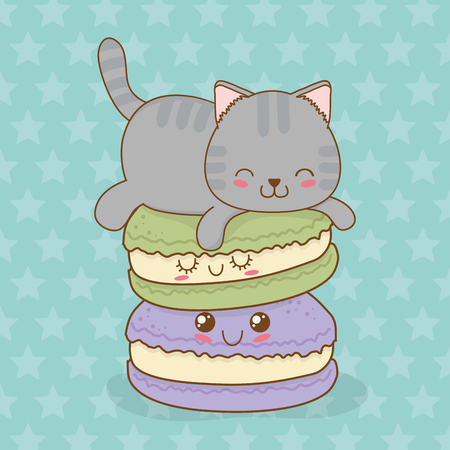 cute little cat with sweet donut kawaii character vector illustration design