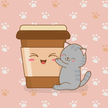 cute little cat with coffee drink kawaii character vector illustration design Çizim