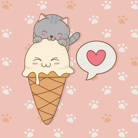 cute little cat with ice cream kawaii character vector illustration design