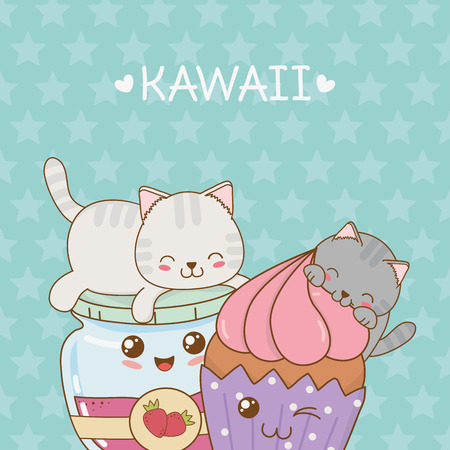 cute little cats with jam and cupcake kawaii characters vector illustration design