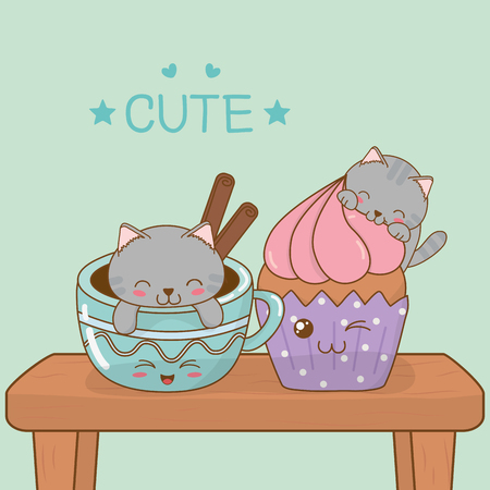 cute little cats with coffee cups kawaii characters vector illustration design Çizim