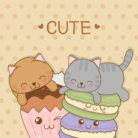 cute little cats with sweet donuts kawaii characters vector illustration design