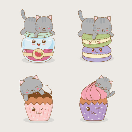 cute little cats with emoticons kawaii characters vector illustration design