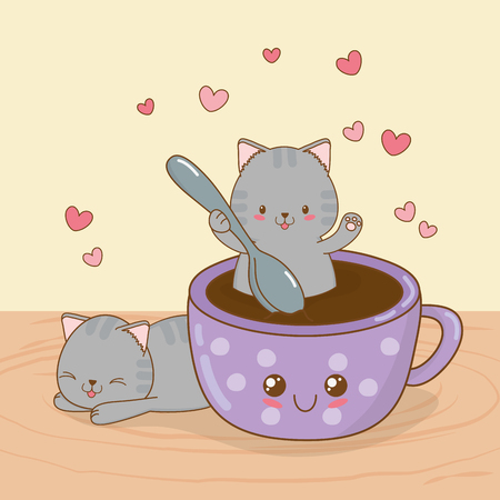 cute little cats with coffee cup kawaii characters vector illustration design