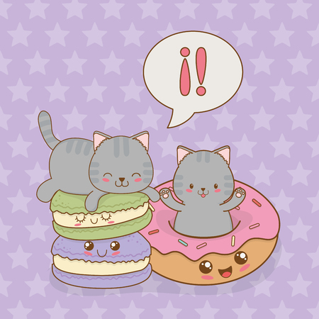 cute little cats with donuts kawaii characters vector illustration design Çizim