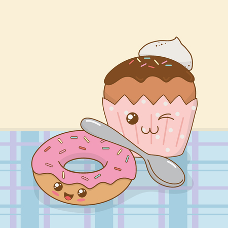 sweet donuts and cupcake kawaii characters vector illustration design