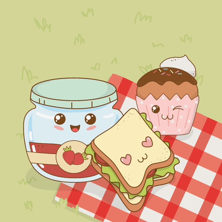 set of camping food kawaii characters vector illustration design