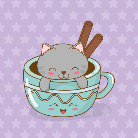 cute little cat with coffee cup kawaii character vector illustration design