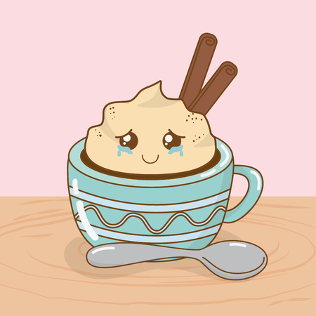 delicious chocolate cup and sweet food kawaii characters vector illustration design