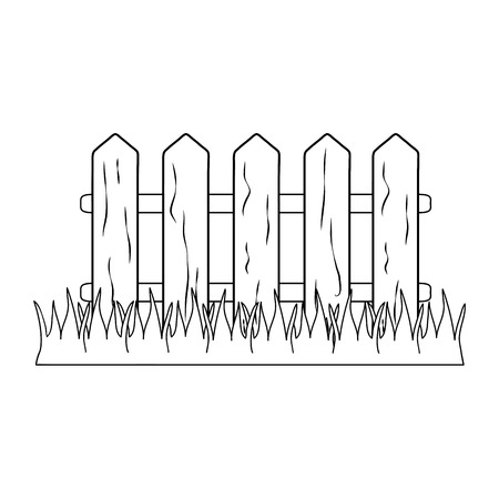 wooden fence with grass vector illustration design