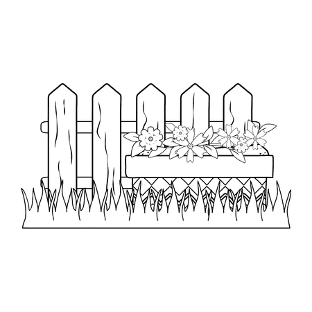 cute flowers and leafs in pot garden with fence scene vector illustration design