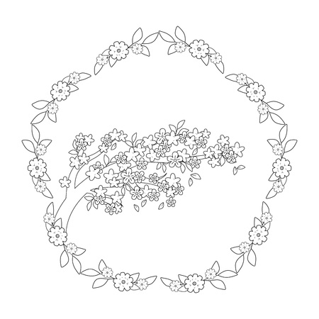 tree branch with flowers and crown vector illustration design