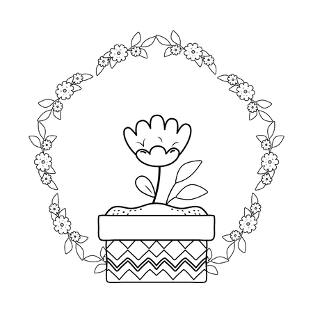 beautiful rose flower and leafs in ceramic pot vector illustration design