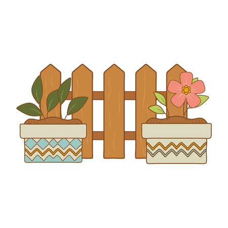 wooden fence with flowers and plant in ceramic pots vector illustration design Ilustrace
