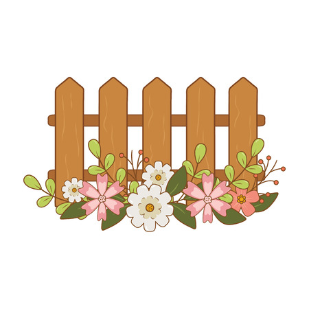 wooden fence with flowers vector illustration design Ilustrace