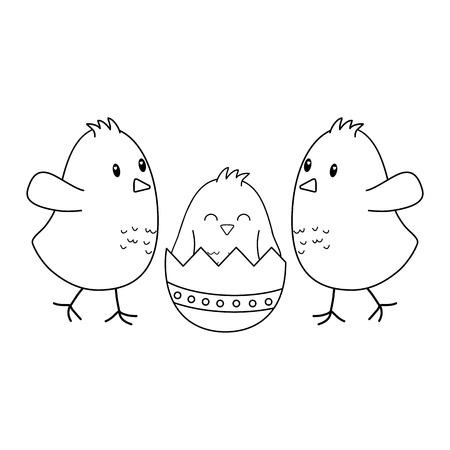 little chicks with broken eggs easter characters vector illustration design