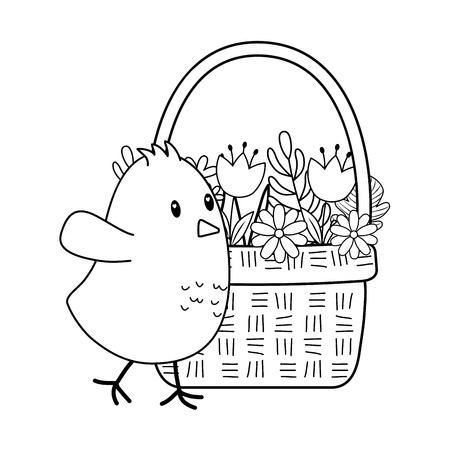 little chick with flowers in basket easter character vector illustration design