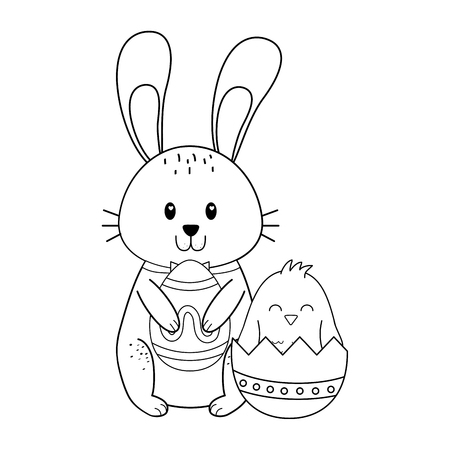 Kleines Kaninchen mit Eiern bemalte Ostern-Charakter-Vektor-Illustrationsdesign