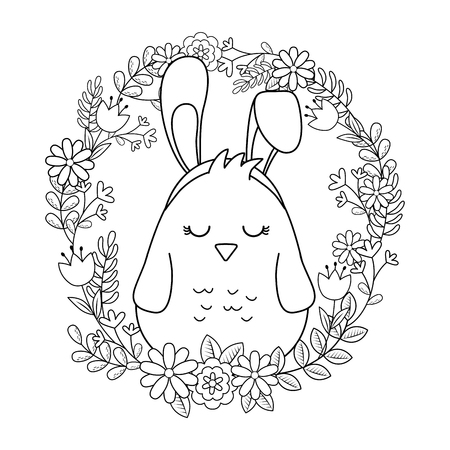 little chick with ears rabbit in floral wreath vector illustration design