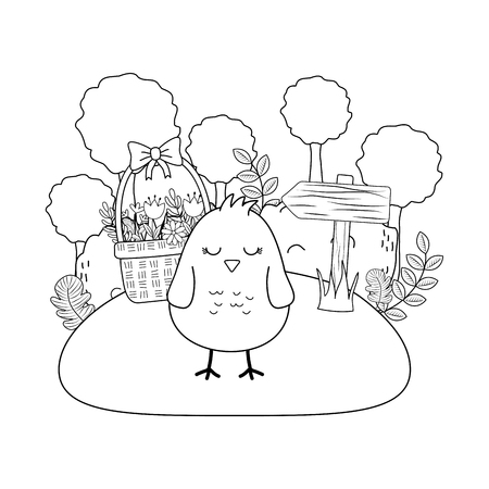 chick with ears rabbit in basket and eggs painted garden scene vector illustration Иллюстрация