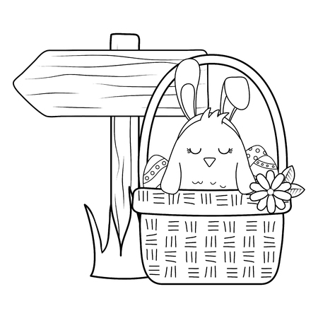 little chick with ears rabbit in floral basket easter character vector illustration design Иллюстрация