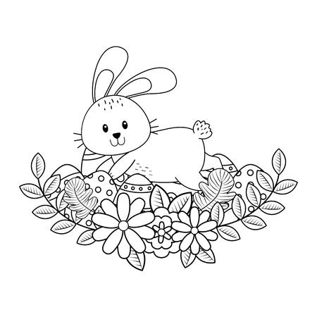 mały królik z jajkiem malowanym i kwiatami wielkanocna postać wektor ilustracja projekt