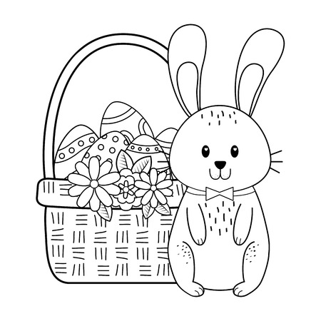 little rabbit with egg painted easter in basket vector illustration design