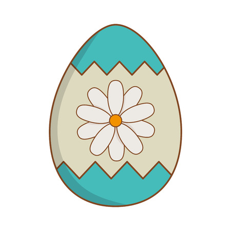 beautitul egg with flower painted easter icon vector illustration design