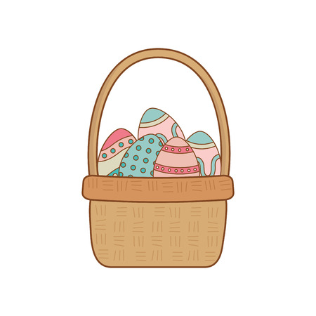beautitul eggs painted in basket vector illustration design