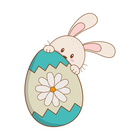 little rabbit with egg painted easter character vector illustration design