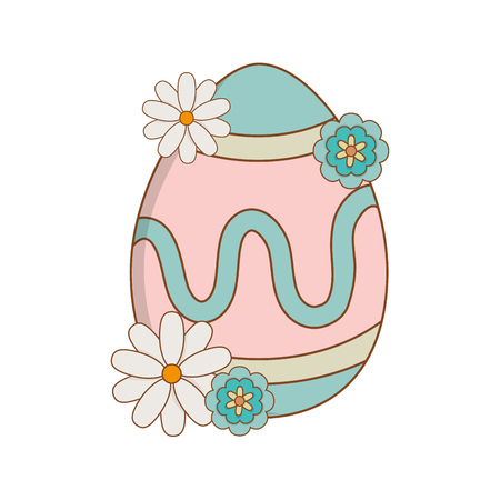 beautitul egg painted with flowers easter icon vector illustration design