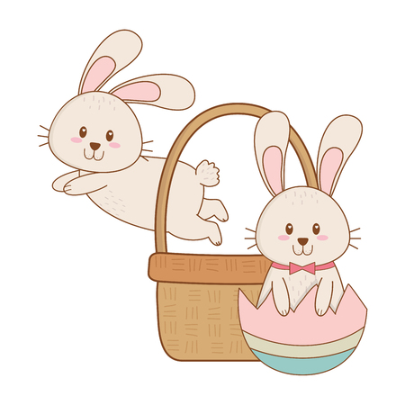 little rabbits with egg painted in basket easter character vector illustration design
