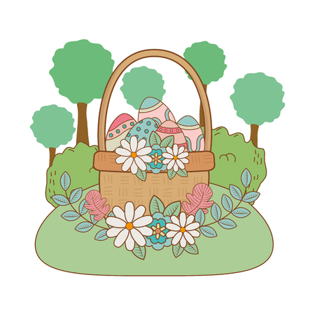 beautitul eggs painted in basket with flowers on the garden vector illustration design Çizim