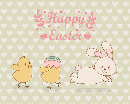 little chicks with rabbit easter characters vector illustration design