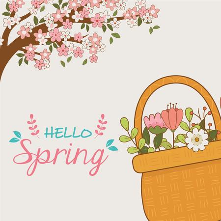 cute basket straw with flower and leaf vector illustration design