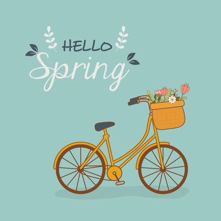 bicycle with basket and flowers in the landscape vector illustration design