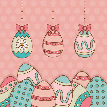 beautitul eggs painted hanging easter icons vector illustration design Çizim