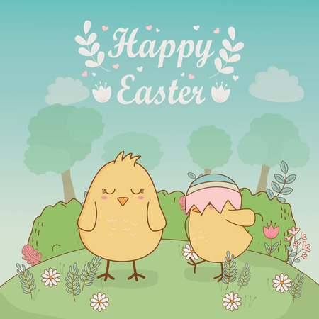 little chicks with eggs painted easter characters vector illustration design