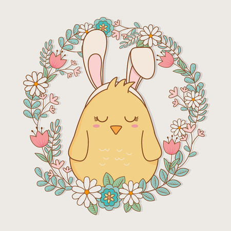 little chick with ears rabbit easter character vector illustration design Иллюстрация