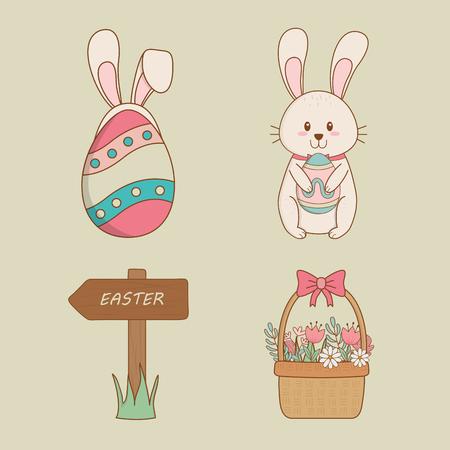 set of happy easter icons vector illustration design Çizim