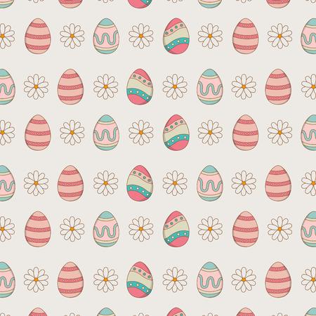set of eggs painted easter pattern background vector illustration design