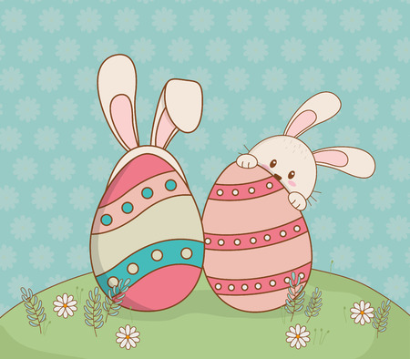 beautitul eggs painted with ears rabbit and chick vector illustration design Çizim