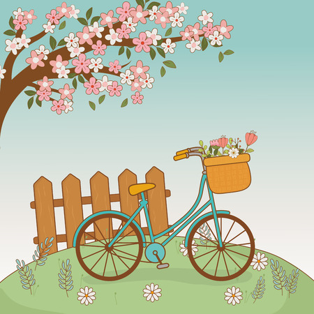 bicycle with floral basket and fence in the landscape vector illustration design Ilustrace