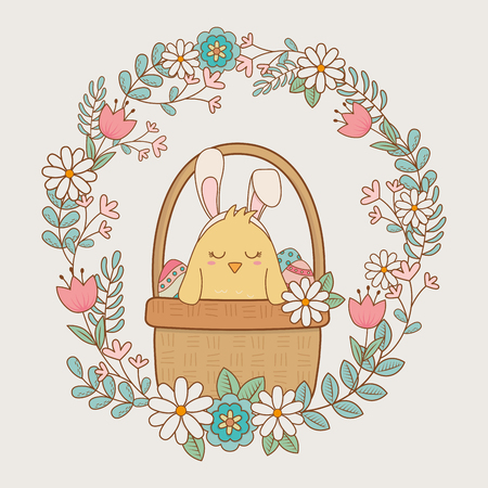 little chick with floral crown easter character vector illustration design Иллюстрация