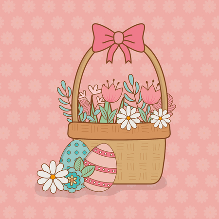 beautitul eggs painted in basket with flowers vector illustration design