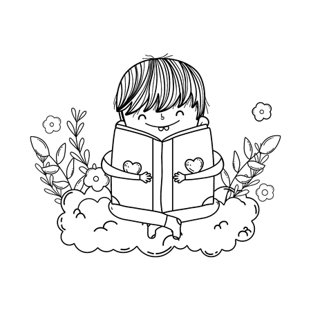 happy little boy reading books with clouds vector illustration design Ilustrace