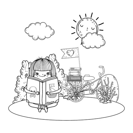 girl reading book with sun kawaii and bicycle in the camp vector illustration design