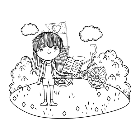 happy little girl reading book with bicycle in the field vector illustration design